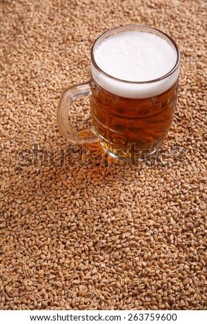 Mug of light beer standing on malted barley grains - stock photo