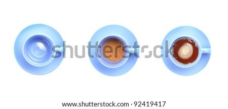 Mug Tea blue,cocoa chocolate.process - stock photo