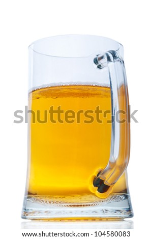 Mug with beer isolated on white background