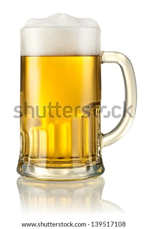 Mug with beer isolated on white. With clipping path - stock photo