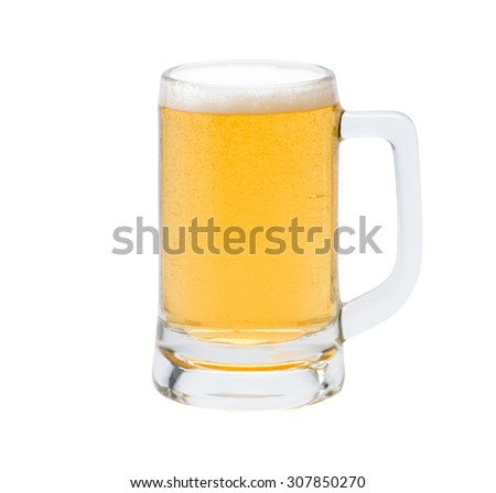 Mug with beer on white background - stock photo