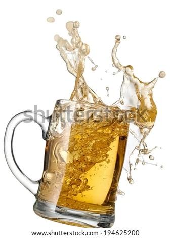 Mug with beer splash - stock photo