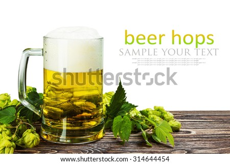 Mug with Beer with hop on wooden table isolated on a white background. for example, and the text is removed - stock photo