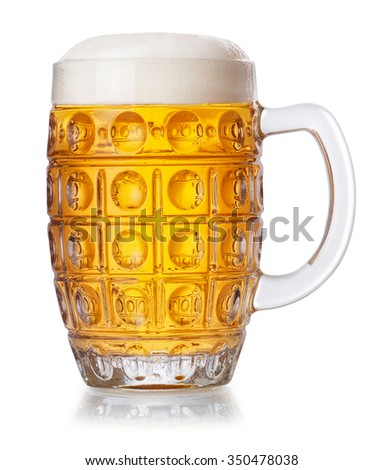 Mug with lager beer and foam isolated on white background - stock photo