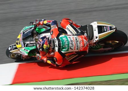 MUGELLO - ITALY, JUNE 1: German Honda rider Stefan Bradl at 2013 TIM MotoGP of Italy at Mugello circuit on June 1, 2013 - stock photo