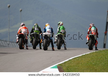 MUGELLO - ITALY, JUNE 3: MotoGP riders at 2013 TIM MotoGP of Italy at Mugello circuit on June 3, 2013 - stock photo
