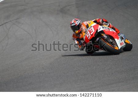 MUGELLO - ITALY, JUNE 3: Spanish Honda rider Marc Marquez at 2013 TIM MotoGP of Italy at Mugello circuit on June 3, 2013 - stock photo