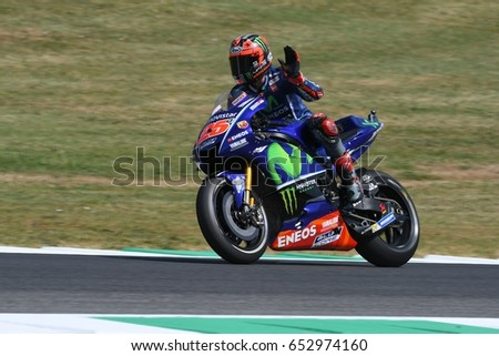 MUGELLO - ITALY, JUNE 3: Spanish Yamaha rider Maverick Vinales during the qualifying of the 2017 MotoGP OAKLEY GP of Italy at Mugello circuit on June 3, 2017 in Italy.