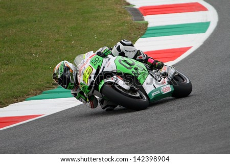 MUGELLO - ITALY, MAY 31: Spanish Honda rider Alvaro Bautista at 2013 TIM MotoGP of Italy at Mugello circuit on May 31, 2013 - stock photo