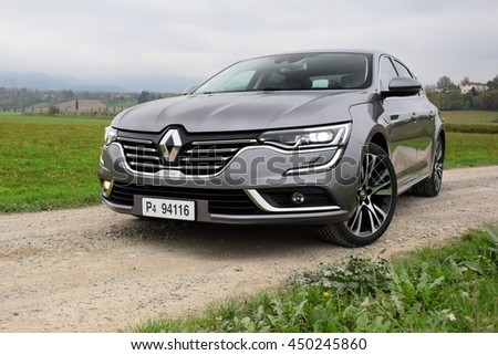 Mugello, Italy - November, 19, 2015: Renault Talisman stopped on the road. This model is the most luxury car in Renault offer in Europe.
