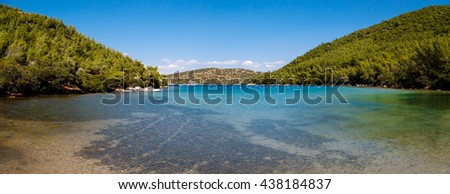 MUGLA, TURKEY - MAY 28, 2016 : Landscape view of Bodrum Heaven Cove with brillant sea coast and hills with green trees.