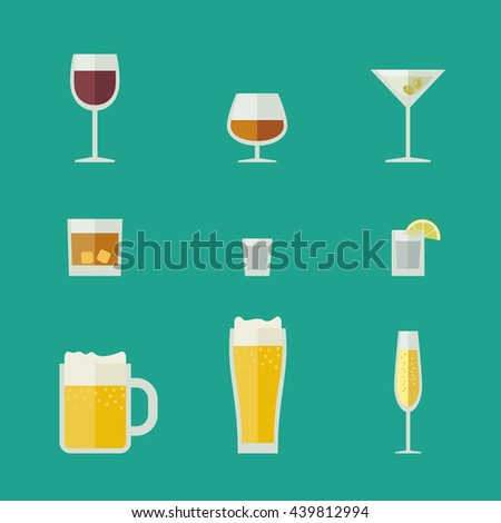 Mugs and glasses icons. Flat glasses with alcoholic beverages. Raster version