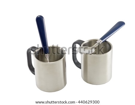 mugs for coffee or tea, isolated on white background - stock photo