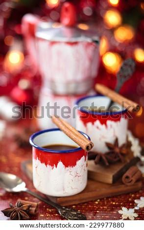 Mugs with italian coffee for Christmas day.  - stock photo