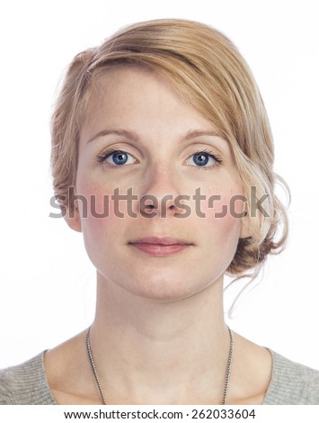 Mugshort of a Beautiful  Woman with no facial Expression Isolated on White - stock photo