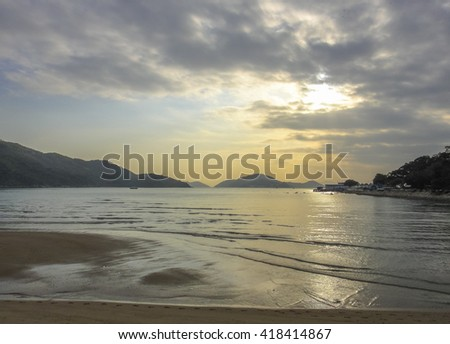 mui wo village beach in hong kong. east coast of lantau island in hong kong