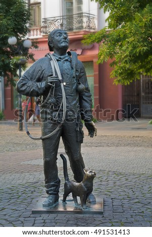 Mukachevo, Ukraine - July 21 Monument chimneysweep July 21, 2016 in Mukachevo, Ukraine
