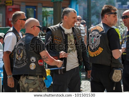 MUKACHEVO, UKRAINE - MAY 1: Unidentified participants arrive at the International Bikers of Transcarpathia event on May 1, 2012 in Mukachevo, Ukraine.