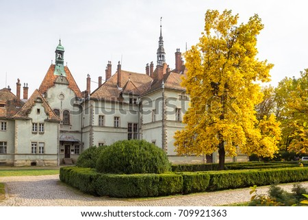 MUKACHEVO, UKRAINE, OCTOBER 20, 2016: Brightly yellow autumn tulip tree in the park of the ancient Schoenborn Palace