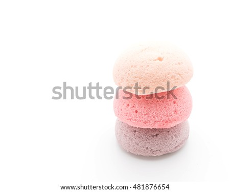 mulberry, blueberry and strawberry fruit cake on white background