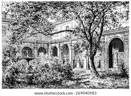 Mulberry Court, vintage engraved illustration. Paris - Auguste VITU  1890.