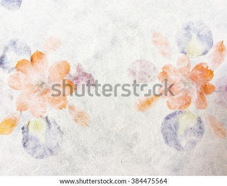 Mulberry paper texture with petals background. Retro, rough and rustic handmade paper - stock photo