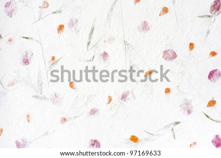 Mulberry paper with red flower texture background. - stock photo