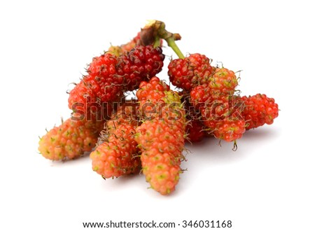 mulberry with leafs on white - stock photo