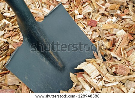 mulch and shovel - stock photo