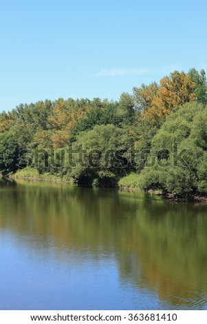 Mulde river in summer in Saxony-Anhalt / Germany - stock photo