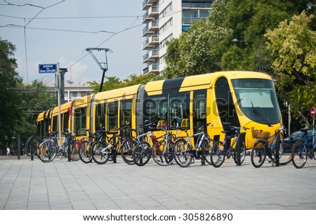 MULHOUSE - France - 13 August 2015 - tramway in front of train station - stock photo