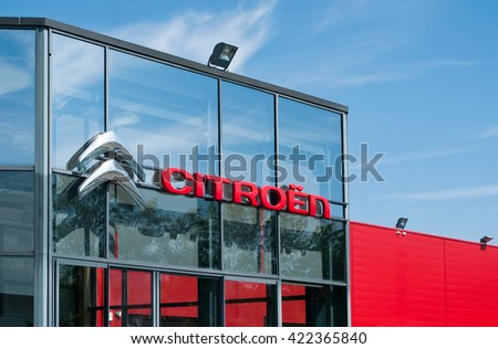 """MULHOUSE - France 18 May 2016 - retail of the logo of the brand """"citroen"""" the french brand of cars signage on showroom   - stock photo"""