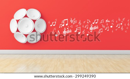 mulitple 3d speakers on wall with Treble clef and musical note