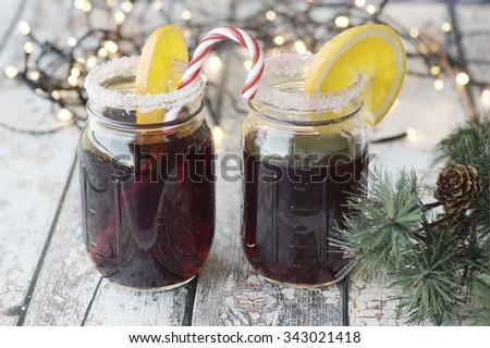 Mulled christmas wine in mason jars - stock photo