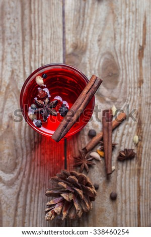 mulled red wine with spices. top view - stock photo