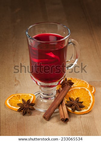 Mulled wine and Christmas decorations from fruits  - stock photo