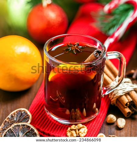 Mulled wine, Christmas drink - stock photo