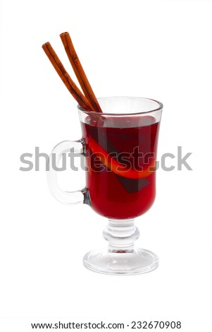Mulled wine glass isolated on white, shallow focus - stock photo
