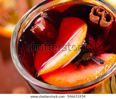 Mulled wine in a glass. Closeup. View from above