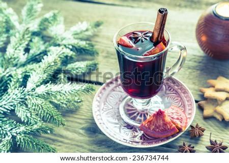 Mulled wine on Christmas eve - stock photo