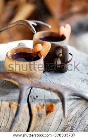 Mulled wine served from wooden cup, kuksa