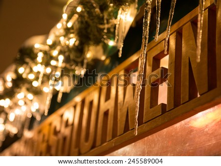 Mulled wine  sign at the Christmas market in Germany - stock photo