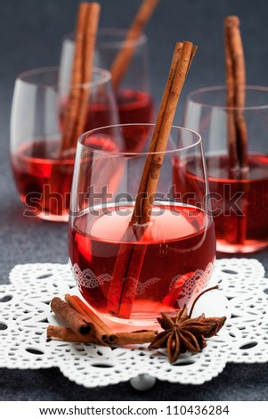 Mulled wine with cinnamon stick and star anise - stock photo