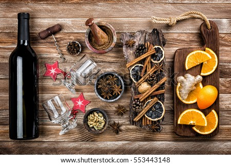 mulled wine with ingredients