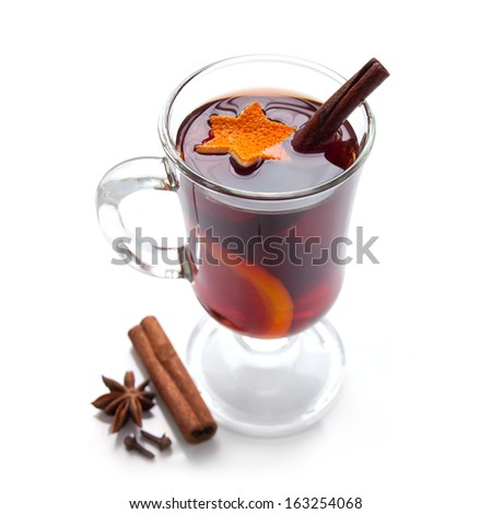 Mulled wine with spice on the white background - stock photo