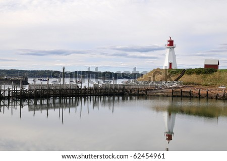 Mullholland Lighthouse on Campobello Island, New Brunswick, Canada, just over the border from the U.S. - stock photo