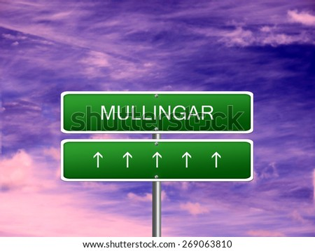 Mullingar city Ireland tourism Eire welcome icon sign. - stock photo
