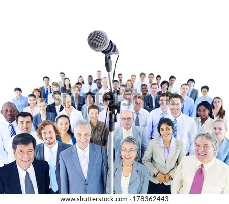 Mullti-ethnic Group of Business People with Microphone