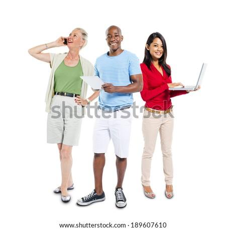 Mullti-ethnic group of people using communication device - stock photo