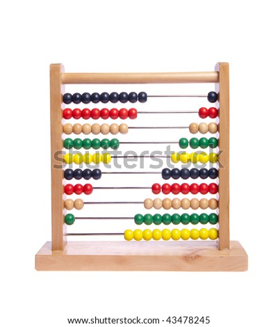 Multi color abacus on white isolated - stock photo